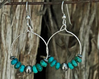 Turquoise and Sterling Silver Southwest Drop Hoop Earrings