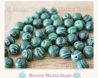 10 pearls 8mm for jewelry creations, green beads - green malachite