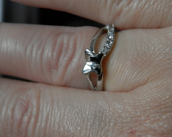 small Butterfly silver plated ring