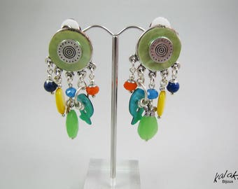 3145 stone and Pearl clip earrings