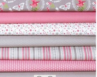 "Set of 7 30x25cm ""Romantic"" patchwork fabrics"