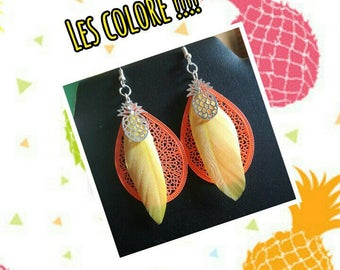 Colorful pineapple orange and yellow feather earrings