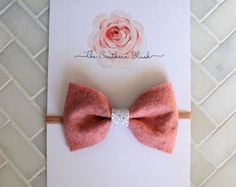 Pink Felt baby bow headband or baby clip with glitter band