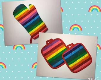 Rainbow Kitchen Oven Mitt  *Ready to Ship