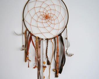 DreamCatcher dream catcher brown orange ribbons feathers Brasilda fall