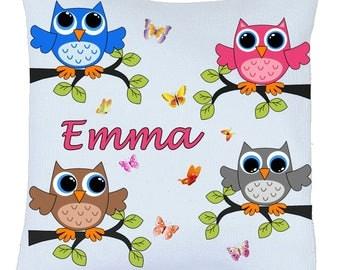 Pillow satin OWL bird motif personalized name choice ref 92