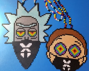 Rick and Morty kandi perler necklace set rave PLUR EDC