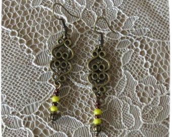 "*~. ""Antique Lov"" earrings. ~ * yellow, saffron, bronze, original, fine, women gift, Bridal"