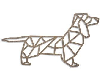 Dachshund ORIGAMI laser cut wood size D