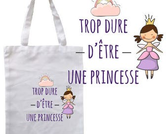 "TOTE BAG 100% cotton ""hard to be a Princess"""