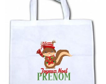 "PERSONALIZED tote bag/tote bag ""Squirrel Christmas"""