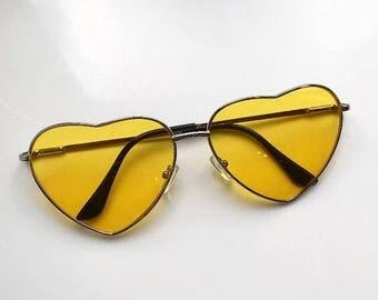 Yellow Love Heart Sunglasses