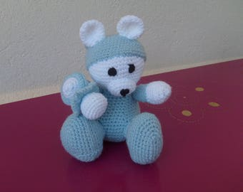 Teddy bear crocheted wool blue and white