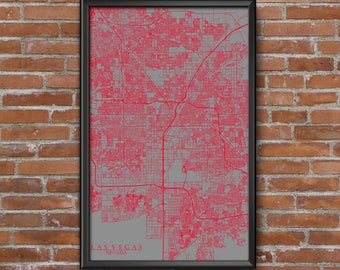 Las Vegas, Nevada Map Art