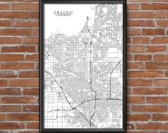 Fresno, California Map Art