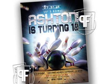 Bowling Birthday Invitation - Lets Bowl - Bowling Invitations - Bowling Birthday Party - Bowling Night