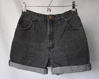 "Eaton Vintage High Waist Cuffed Denim Shorts Waist 28"""