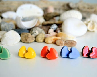 Heart Shaped Ceramic Stud Earrings with Silver Screw-back, Gift for Her