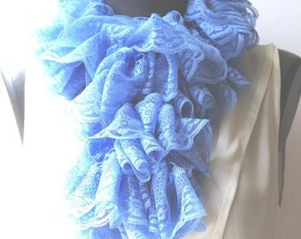 Crocheted blue lace ruffle scarf, it is about 120 cm.