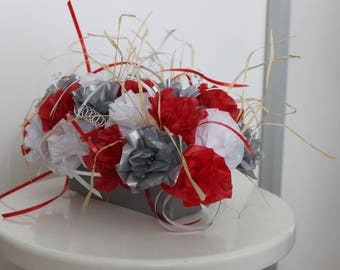 centrepiece decoration wedding christening - red white and silver