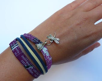 Purple fabric with curb chain bracelet