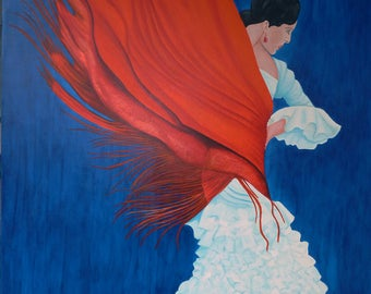 The Flamenco Andalusian dancer in red shawl