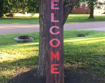 Handmade wooden welcome sign