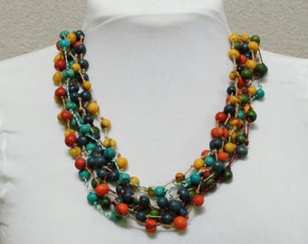 Organic colorful acai beads necklace