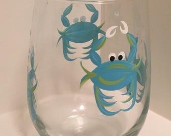 Aqua Crab Stemless Glass