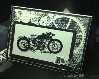"""black and white motorcycle card """"ride"""""""