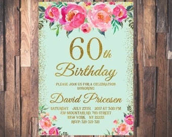 60th Birthday Invitation for Women Mint Gold Glitter Pink Peonies Floral Birthday Invitation Any Age 21st 30th 40th 50th 70th 80th 90th 1087
