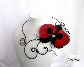 Lara - necklace orchid flower which is bicolour black red white