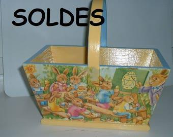 "Wooden basket ""hunting eggs to school"" handmade"