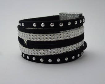 black and white suede Cuff Bracelet
