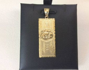 10K SOLID YELLOW real GOLD One Hundred Dollar Pendant -100 Bill Money charm 4.2grams