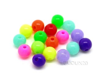 20 Acrylic beads 8mm multicolor style neon M02214