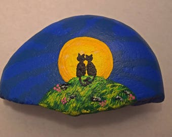 Black Cat Midnight Love Painted Rock Paper Weight