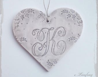 Large earthenware and lace impressions heart hanging, brown beige color, letter 'K'