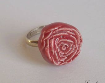 Adjustable silver ring, flower shaped ring red rose.