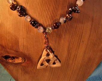 Copper Wrapped Agate Celtic Knot with Blood Stone, Agate  Copper and Fresh Water Pearles