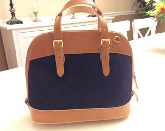 AUTHENTIC Giani Bernini Tan and Navy Blue Handbag w/ strap