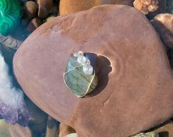 Labradorite Wrap with Cascading Spirals