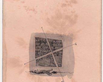 "Orange ink on paper - ""Latitude"" illustration"
