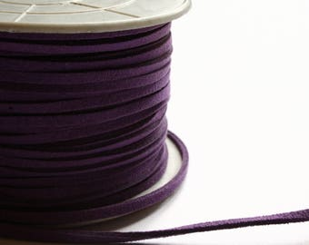 Purple suede cord 2 mm x 1 meter