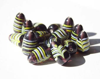 Indian glass bead purple and yellow ~ 2 cm
