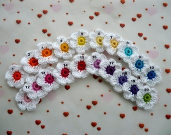 crochet flowers made of cotton - choice of colors