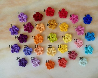 Mini crochet cotton flowers - free choice between 30 colors