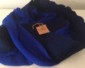 Light-weight blue scarf with felt details