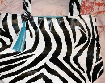 Zebra faux imitation tote bag