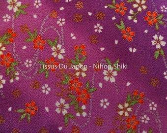 Chirimen fabric purple fabric Japanese Crepe, Crepe fabric flowers, fabrics of Japan, Coupon 15x21cm